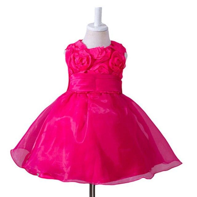 2017 Новые Летние Девушки 1 год День Рождения Платья детки девушки одеваются новорожденных девочек Цветочные свадебное Платье для новорожденных