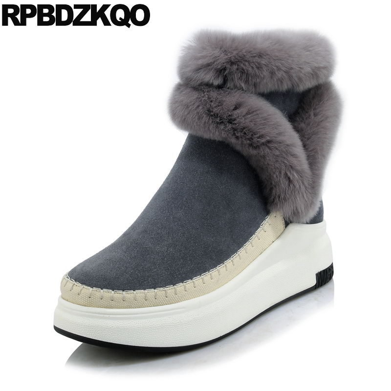 Platform Genuine Leather Wedge Shoes 2017 Round Toe Casual Grey Real Fur Winter Short Furry Snow Boots Women Ankle New Fashion nayiduyun women genuine leather wedge high heel pumps platform creepers round toe slip on casual shoes boots wedge sneakers