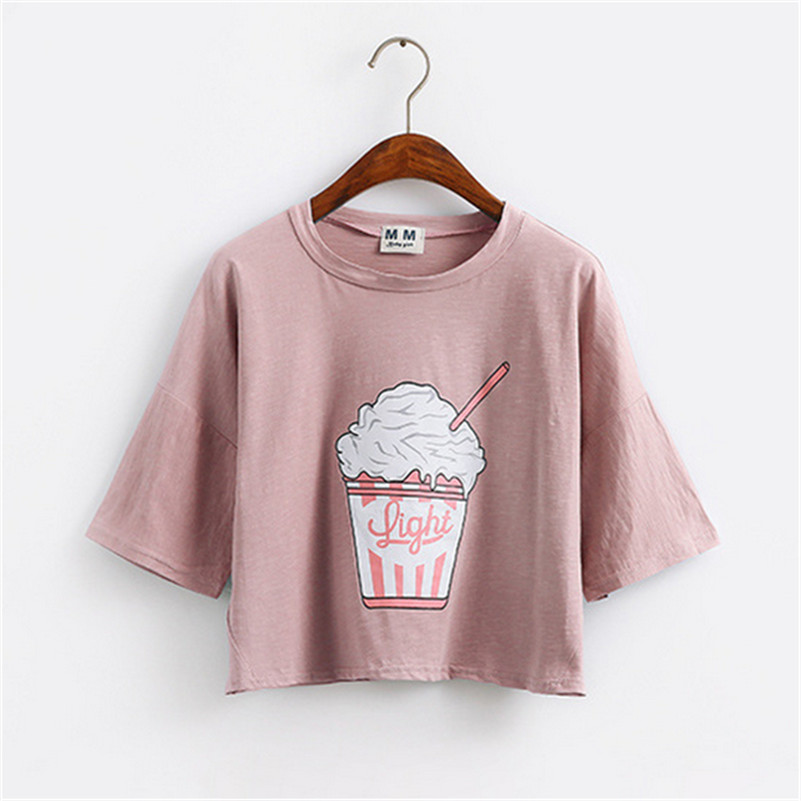 Merry Pretty 2017 summer new Harajuku women t shirt ice cream Korean style cotton loose crop tops kawaii t-shirt women tee tops