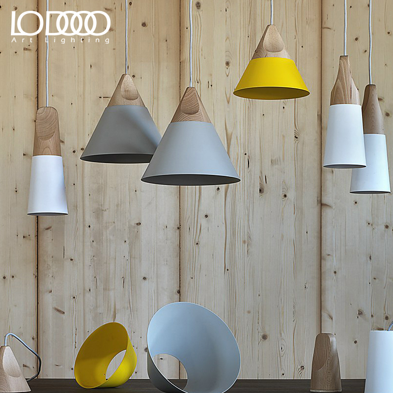 LODOOO Pendant Lights Dining Room Pendant Lamps Modern Colorful Restaurant Coffee Bedroom Lighting Iron+Solid Wood E27 Holder modern iron 3heads yellow gray blue pendant light study macarons restaurant bar inline chandel lighting pendant lamps za925435