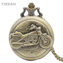 TIEDAN New Fashion Motor Bike Desain Steampunk Perunggu Vintage Pocket Watch dengan Rantai Kalung untuk Unisex Hadiah Retro Perhiasan H56