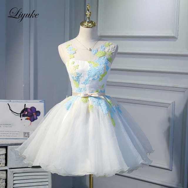 Liyuke Scalloped Neckline Colorful Prom Dress With Bow Sash A Line Strapless Party Dress Knee-Length Dress