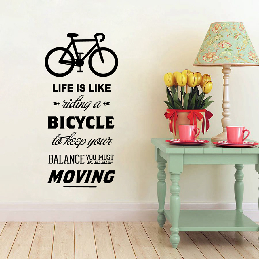 Life Is Like Riding A Bicycle Quote Bike Wall Sticker DIY Cycling Words Vinyl Bike Wall Art Decal Sticker Mural Home Decoration-in Wall Stickers from Home ... : bicycle wall decal - www.pureclipart.com