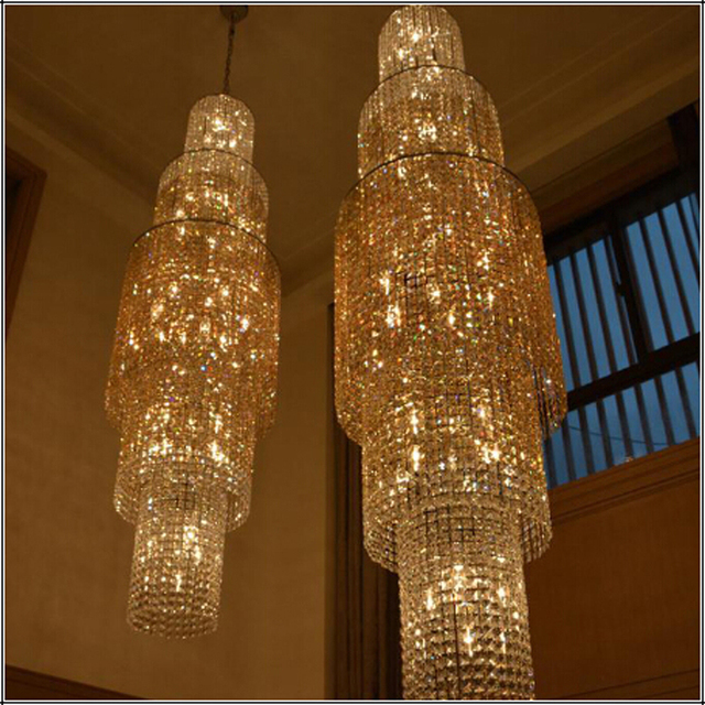The rotating floor stairs chandelier hotel double floor long the rotating floor stairs chandelier hotel double floor long chandelier modern lighting for high ceiling living aloadofball Gallery