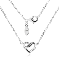 Ribbons of Love Pendant Necklaces Genuine 925 Sterling Silver Clear CZ Heart Choker Necklaces for Jewelry Making Accessories