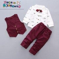 Baby Boy Clothes 3PCS Suit Infant Boys Formal Clothing Sets Toddler Kids Set Beard Printed Shirt+Vest +Pants Baby Gentleman Set