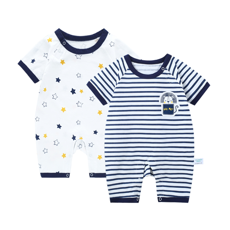 2 pcs/lot Jumpsuit Baby Boy Summer Romper Newborn Striped Baby Girl Clothes Rompers Short Sleeve Baby Boy Overalls For Newborns kids ruffle tie neck striped romper