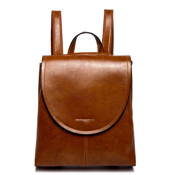 New Genuine Leather Vintage Female Backpacks Fashion Oil Wax Girl Shoulder Bag Preppy Style Retro Teenager Schoolbag C139