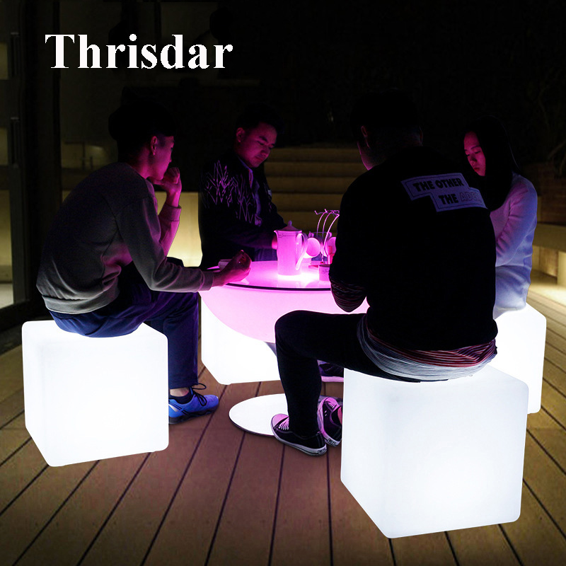 Thrisdar D30CM 40CM Creative illuminated KTV Bar Cube Chair Table Light With Remote IP68 Waterproof Garden Lawn Cube Stool light