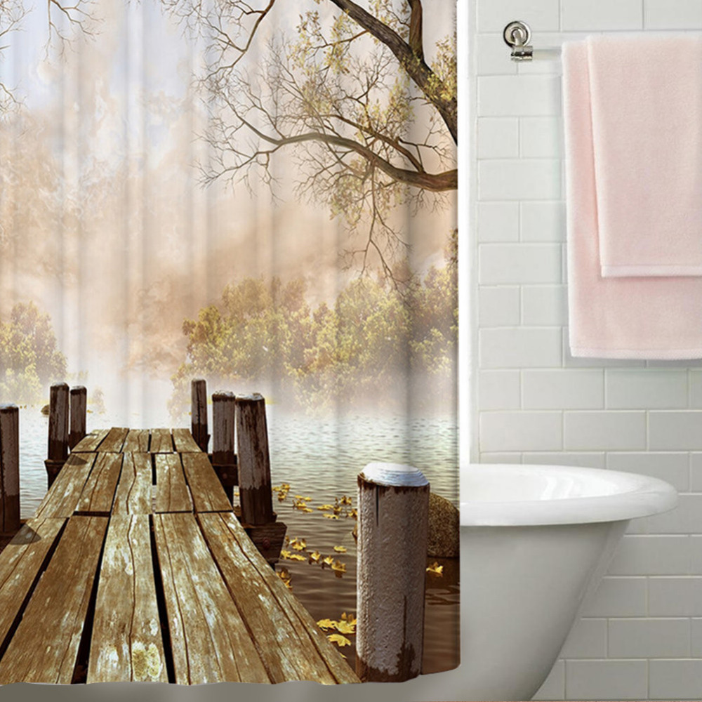 Aliexpress.com : Buy Waterproof Polyester Yellow Shower Curtain Fall ...