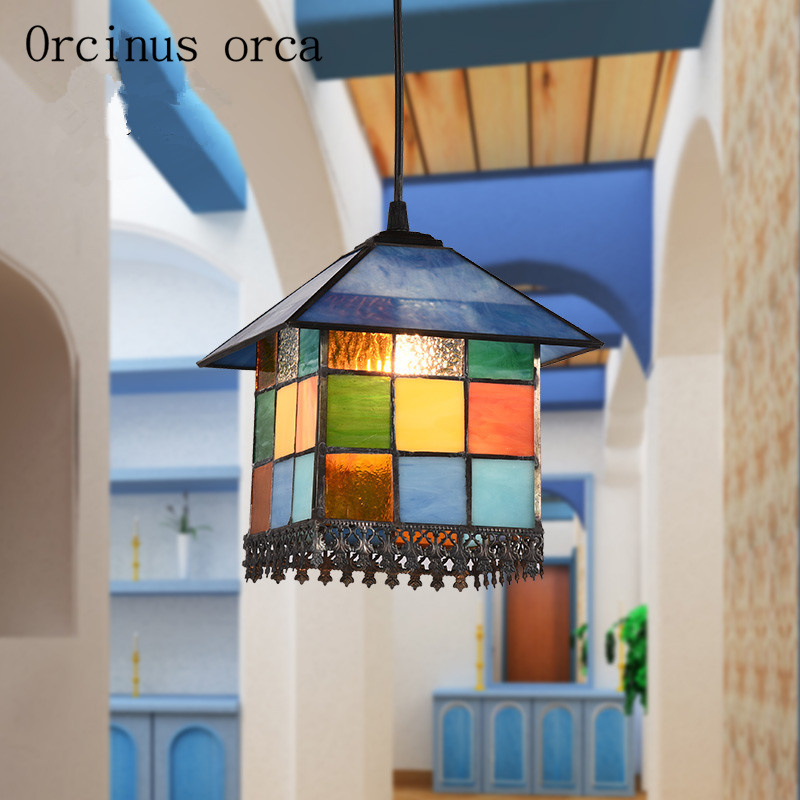 European style Mediterranean style restaurant, chandeliers, kitchen, bedroom, corridor, balcony, small Chandelier Postage free european rural bird marble hemp rope chandelier cafe restaurant corridor balcony chandelier size 33 38cm e27 ac110 240v