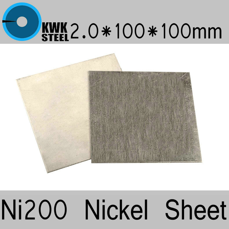 2*100*100mm Nickel Sheet Pure Nickel ASME Ni200 UNS N02200 W.Nr.2.4060 N6 Plate Electroplating Anodes Experiment Free Shipping