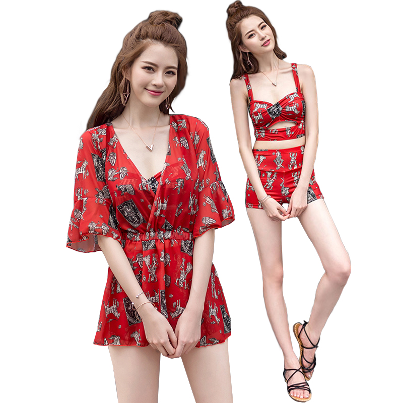 купить High Waist Swimsuit Bandage Bikini Floral Print Retro Vintage Bathing Suit Biquini Plus Size Swimwear Push Up Beach Wear Clothes по цене 1586.38 рублей