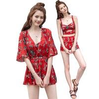High Waist Swimsuit Bandage Bikini Floral Print Retro Vintage Bathing Suit Biquini Plus Size Swimwear Push Up Beach Wear Clothes