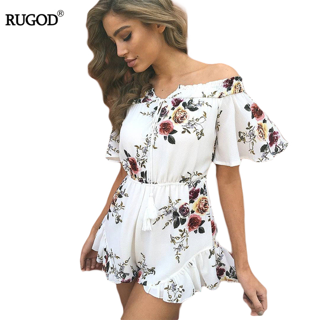 3492f708b3f Off Shoulder Lace-up Jumpsuits Romper Women High Waist Chiffon Sexy Playsuit  Print Tassel Bohemian Style Summer Overalls