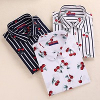 New Floral Cotton Women Shirts Casual Cherry Shirt Turn-Down Collar Blouses Cherry Long Sleeve Shirt Women Fashion Clothing 2017