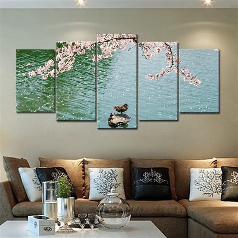 Impressions sur toile canard dans l'étang moderne paysage décoratif photos mur Art HD giclée impressions sur toile pour salon décoration murale