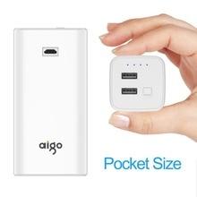 Aigo Мощность Bank 10000 мАч внешний Батарея Портативный Мощность Bank Аккумуляторная batterie повербанк USB Батарея для iPhone 7 для Xiaomi