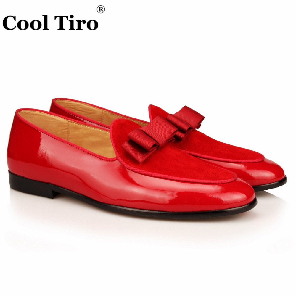 red Patent leather Loafers Men Flat Shoes  (1)