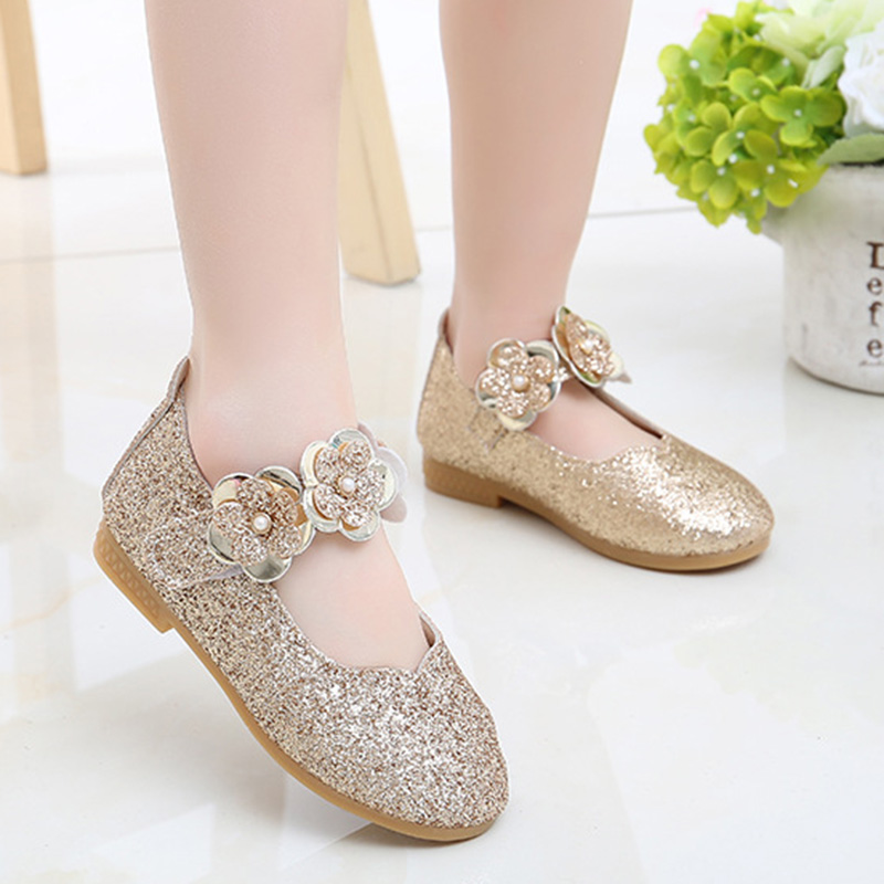 Girls Soft Bottom Sequins Flowers Non-slip Princess Shoes Single Dance Shoes M09