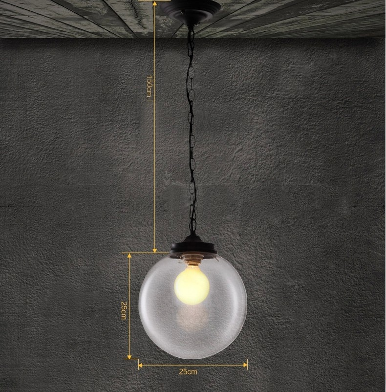 ᗐvintage Pendant Lights Clear Glass Ball Hanging Pendant Lamp E27
