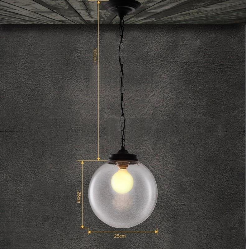 Vintage suspension lumières clair boule de verre suspension lampe E27 110V 220V pour salle à manger décor à la maison planétarium