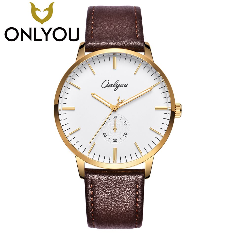 ONLYOU Mens Watches Top Brand Luxury Women Fashion Casual Genuine Leather Strap Quartz Clock Wrist Watches For Lovers Wholesale xinge top brand luxury leather strap military watches male sport clock business 2017 quartz men fashion wrist watches xg1080