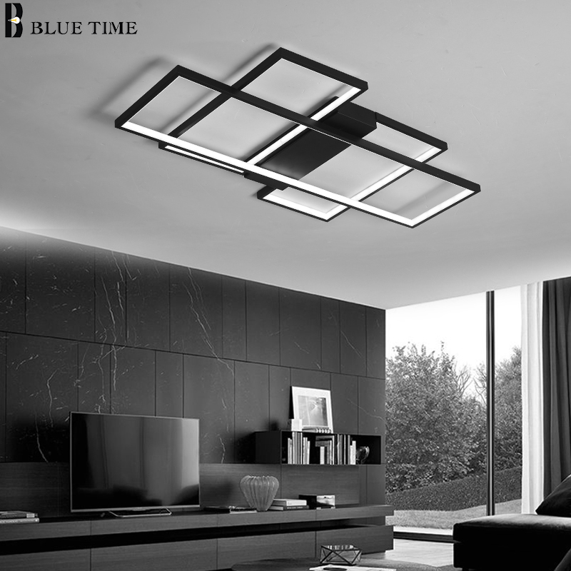 Image 2 - Black&White Body Modern LED Chandeliers For Living Room Bedroom Home Fixtures Led Ceiling Chandelier Lighting Lampara de techo-in Chandeliers from Lights & Lighting