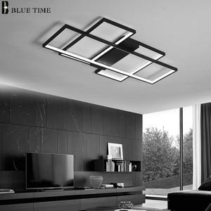 Image 2 - 블랙 & 화이트 현대 LED 샹들리에 거실 침실 홈 비품 Led 천장 샹들리에 실내 조명 Lampara de techo