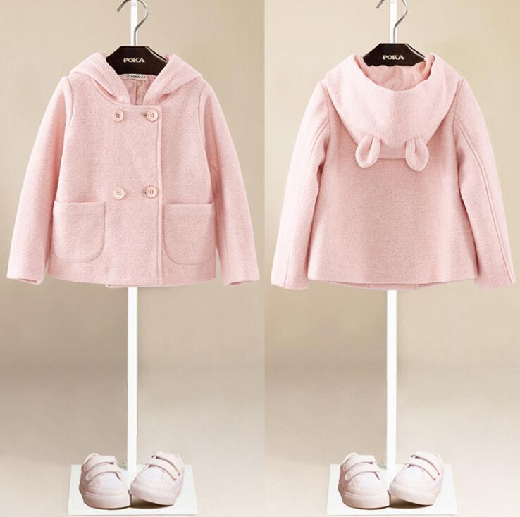 Girl Cotton Outwear Clothing Pink Red Rabbit Large Ear Hooded Coat Baby Toddler Girl Fall Spring