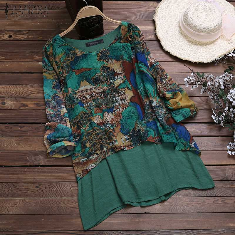 Women Tops And Blouses ZANZEA Ladies Fate Two Pieces Shirts Tunic Tops Casual Loose Long Sleeve Blusa Feminina Chemise Plus Size