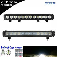 1pcs 120W 9600Lm Super Bright 20 Inch Single Row Straight LED Light Bar for Offroad 4*4 SUV ATV Tractor 12V 24V Pickup UTV Truck(China)