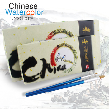 Lanpo marca chinesa pintura cores Set aquarela desenho de arte 12 cores 5 ml 12 ml