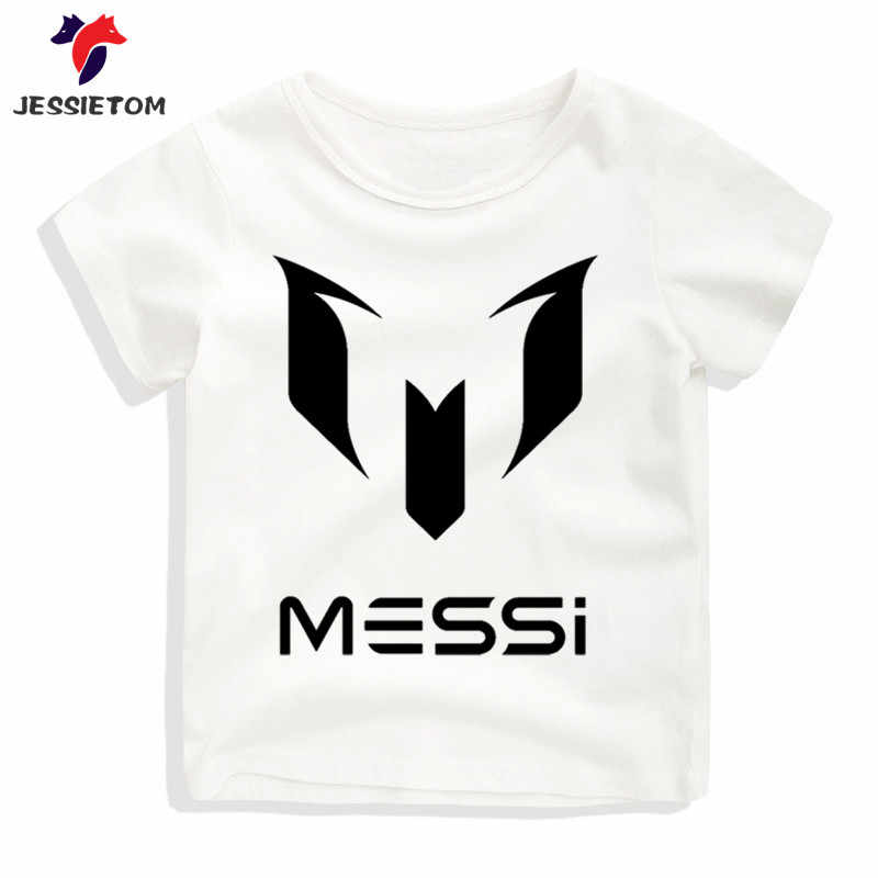cheap for discount 03cd4 8f50f Boy Girl Messi Letter Print Tshirt Kid White O Neck Soft Kawaii Tops Tees  Children Baby Clothes Baby Camisetas