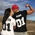 KING QUEEN 01 Print TShirts Valentine Cotton Summer Couples Leisure T-Shirt Short Sleeve O neck 2 pieces each combo