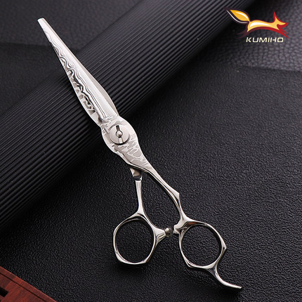 Купить с кэшбэком KUMIHO 6.25inch professional hair shear with damascus pattern high hardness hair scissors Japan 440C factory direct supply