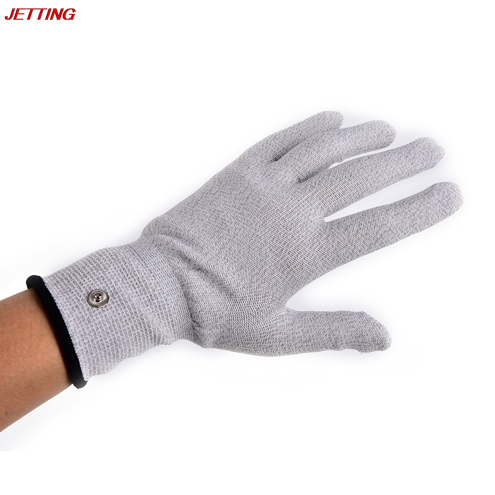 2pcs/pair Electrode Gloves Electrical Shock Fiber Therapy Massage, Electro Shock Gloves Electricity Conductive Gloves