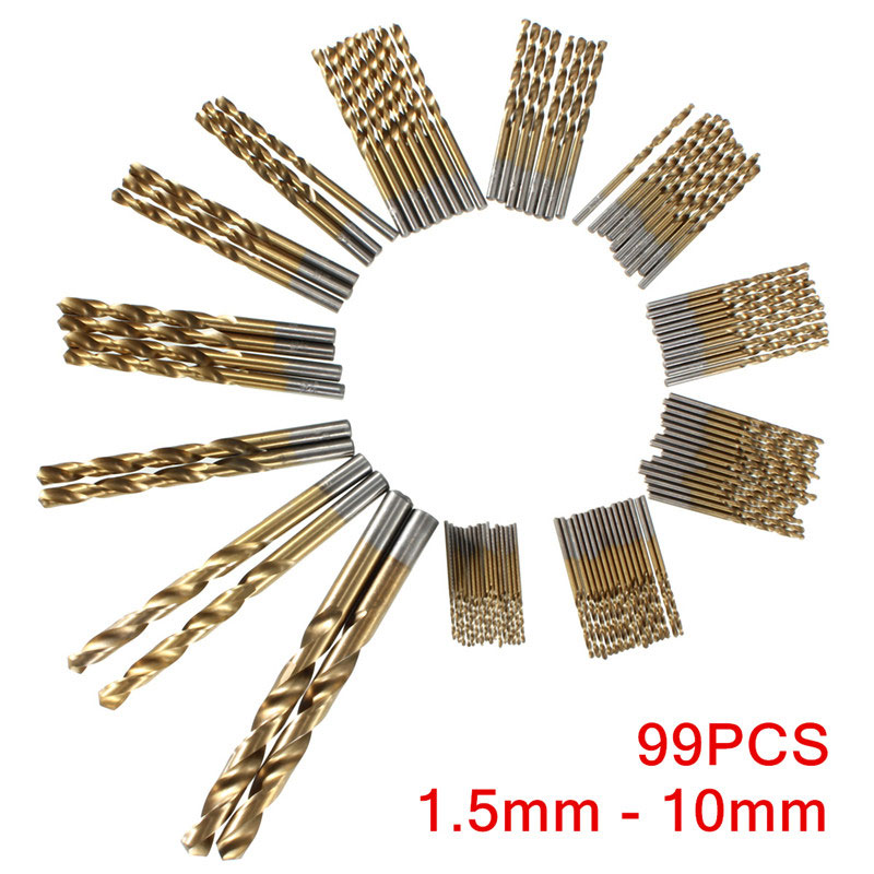 99pcs/set 1.5mm-10mm Titanium Coated HSS Drill Bits for Wood / Plastic / Aluminum etc Drilling Hole 99pcs mayitr hss drill bits set titanium coated woodworking drilling tools 1 5mm 10mm