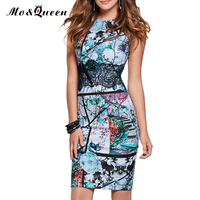 Vintage Summer Dress Women 2016 Elegant Floral Lace Bodycon Dress New Arrival Sleeveless Blue Red Ladies
