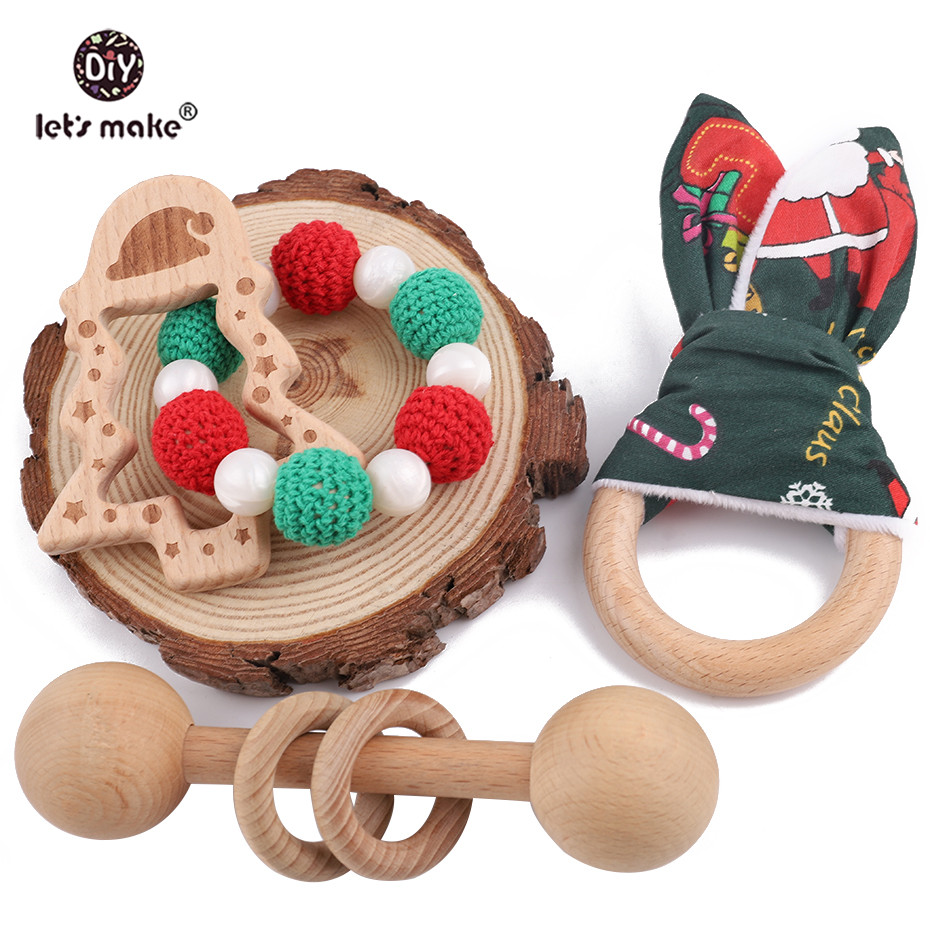 Let's Make 1pc Organic Wooden Bunny Ear Pendant Wood Rattle Christmas Tree Bracelt Baby Teether Christmas New Year Gift For Baby