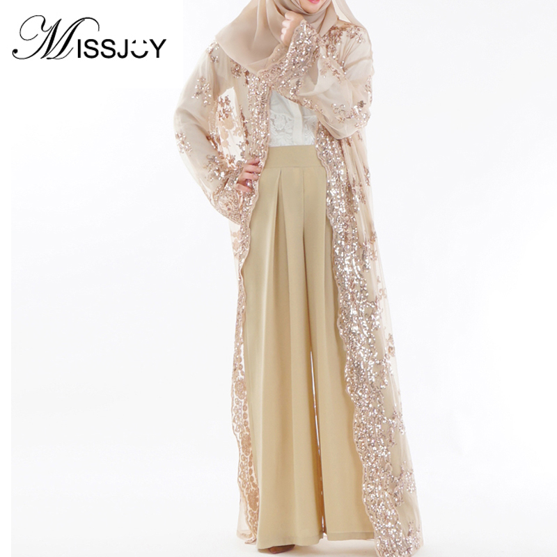 MISSJOY Sequin Kaftan Muslim Abayas Arab Maxi Dress Cardigan Embroidery Luxury Lace Robes Party Women 2018 Dubai Islamic Dress