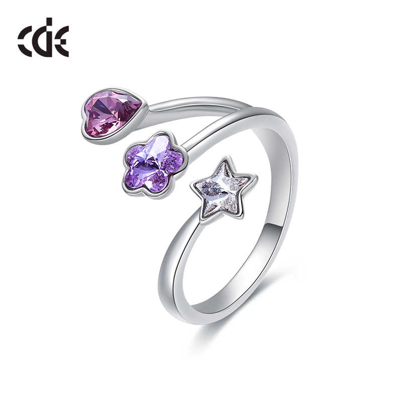 CDE Women Rings Embellished with crystals from Swarovski Heart Flower Star Adjustable Rings Wedding Engagement Jewelry Ringen