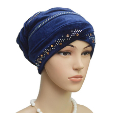 velvet muslim women inner hijabs plain pearl turban hijab caps headscarf hat islamic scarf headband sleeping hats