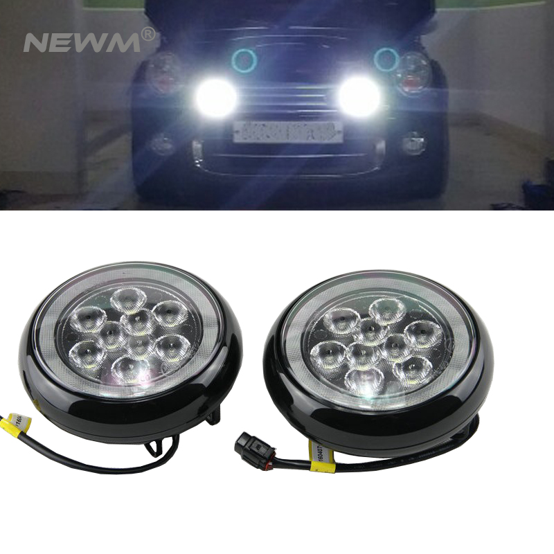 Free Shipping 6000K 1900LM LED Daytime Running Lights DRL with angel eyes LED Front bumper Ligh LED fog lamp for MINI for opel astra h gtc 2005 15 h11 wiring harness sockets wire connector switch 2 fog lights drl front bumper 5d lens led lamp