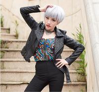 Luxury New 2015 Spring Autumn Fashion Women Rivet Motorcycle PU Faux Leather Spike Studded Jacket Outerwear Streetwear Jackets