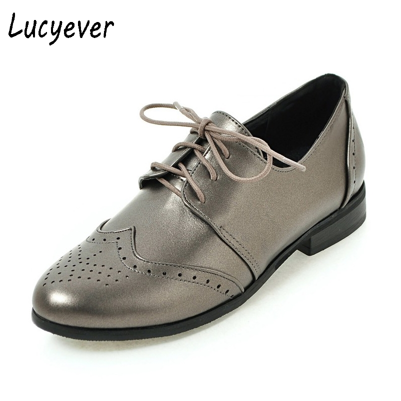 Lucyever Women Flats Soft Leather Oxford Shoes Vintage Lace up Round Toe Platform Handmade Casual Shoes Woman Plus Size 34-43 2016 lace up women flats solid color spring flats pointed toe flats sole platform shoes woman size 34 39 casual women shoes