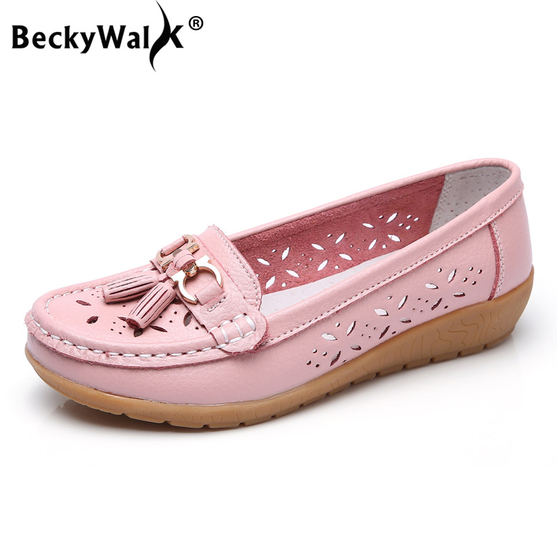 BeckyWalk 2018 Spring Women Genuine Leather Ballet Flats Casual Shoes Women Cutout Slip On Summer Flats Female Loafers WSH2842 pinsen spring women genuine leather ballet flats casual shoes round toe slip on flats female loafers ballerina flats boat shoes