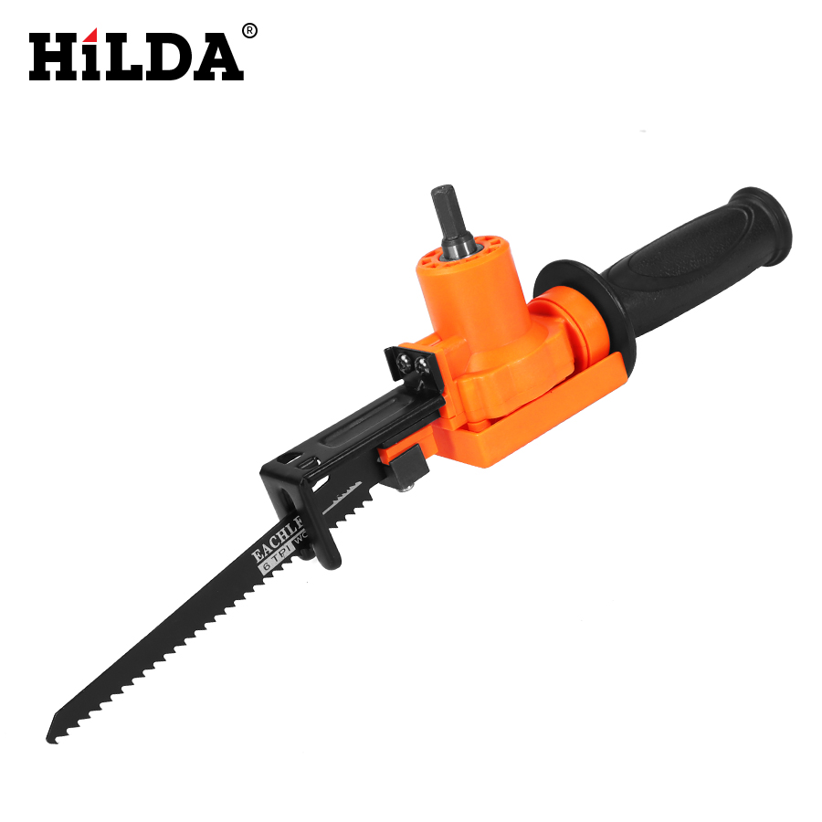 HILDA  Cordless Reciprocating Saw Metal Cutting Wood Cutting Tool Electric Drill Attachment With Blades Power Tool