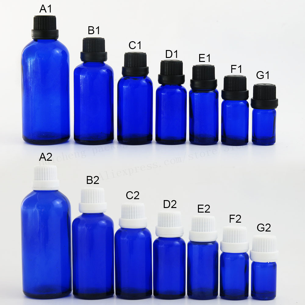 12 X 5ml 10ML 15ml 20ml 30ml 50ml 100ml Cobalt Blue Small Glass Essential Oil Bottle With White Black Tamper Evident Cap Reducer