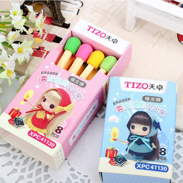 8Pcs/pack Cute Matches Girl Eraser Lovely Colored Eraser For Kids Students Gift Office Stationery Supply